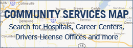 Community Services Map - Search for hospitals, career centers, drivers licenses and more.